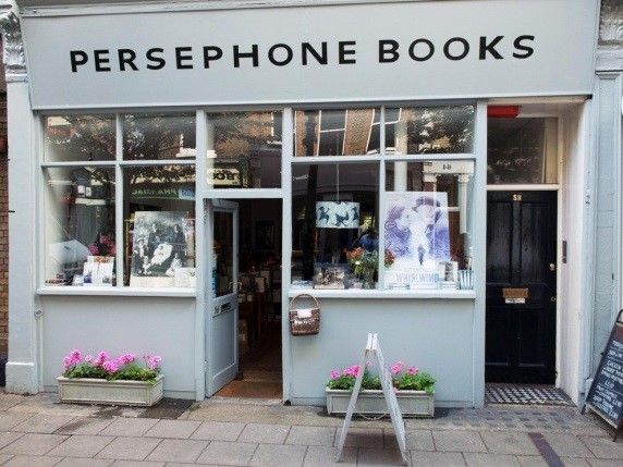 Persephone Books' storefront on Lambs Conduit Street