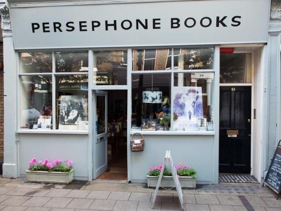 Persephone Books' storefront on Lambs Conduit Street